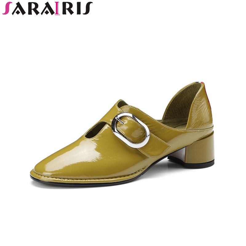 SARAIRIS New Fashion Genuine Leather Square Med Heels Solid Round Toe Shoes Woman Casual Spring Pumps Black Big Size 34-43