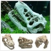 Hot Resin Artificial Aquarium Dinosaur Skull Decoration Fish Tank Dinosaur Head Ornament House Cave For Fish Turtle Repitle
