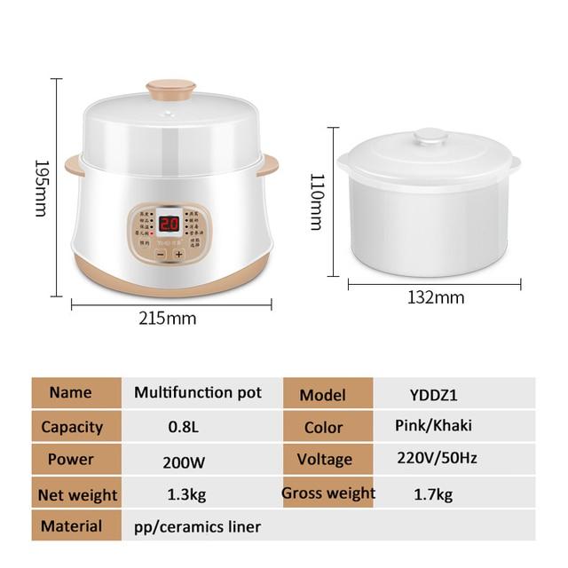 Kbxstart 200W Multifunction Mini Slow Cooker Household Timer Steam Stew Ceramic Liner Water Stewing Soup Porridge Pots 0.8L 6