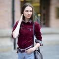Veri Gude Women Corduroy Shirt Slim Fit Blouse Long Sleeve Paid Patchwork