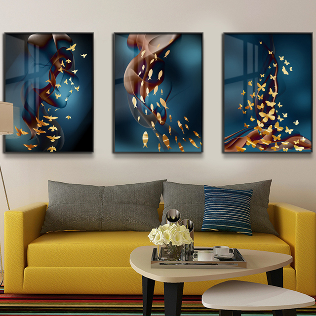 Fish Butterfly Art Painting Nordic Poster Wall Canvas 3 Pieces Posters And Prints Pictures Living Room
