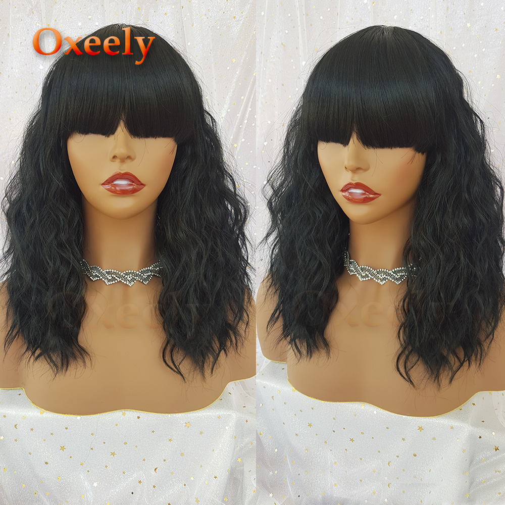 Oxeely Short Wavy Hair Synthetic No Lace Wigs with Bangs Bob Style Shoulder Length Glueless  Black  Heat Resistant Fiber