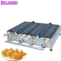 BEIJAMEI Most Popular LPG Gas Fish Shape Taiyaki Machine Double Plate 12pcs Commercial Gas Fish Taiyaki Waffle Maker