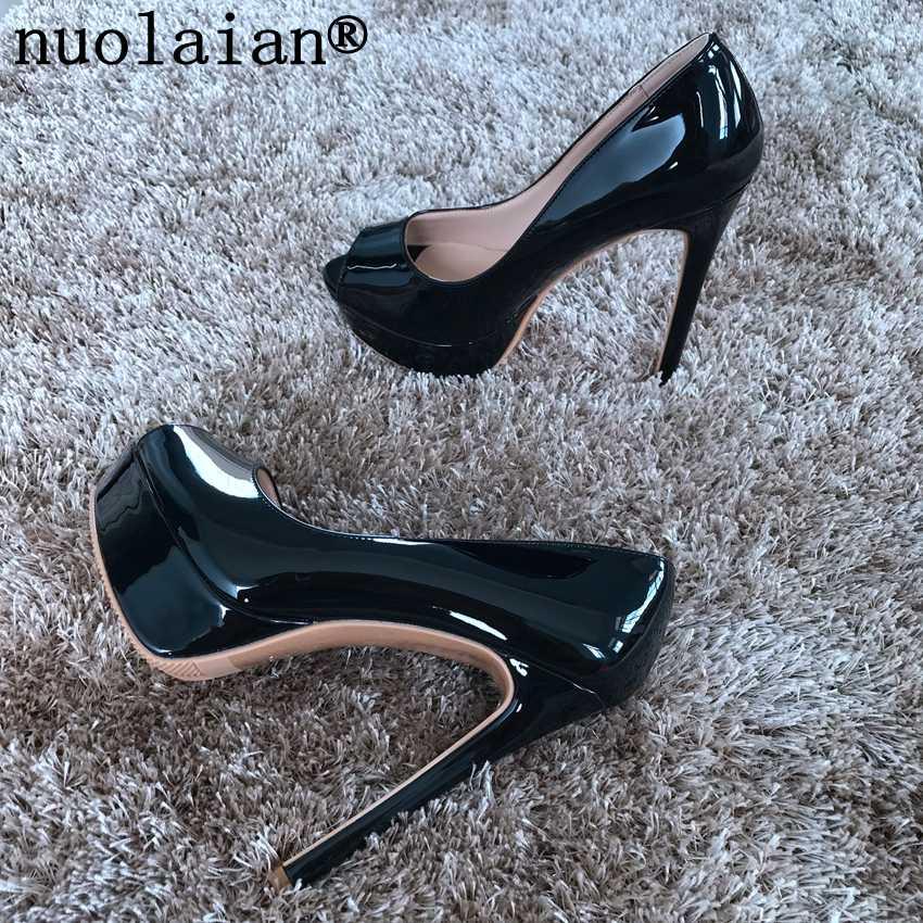 7c142e133219 14CM Platform Shoes Woman Summer Peep Toe Sandals Pumps Women Patent  Leather High Heels Womens Wedding