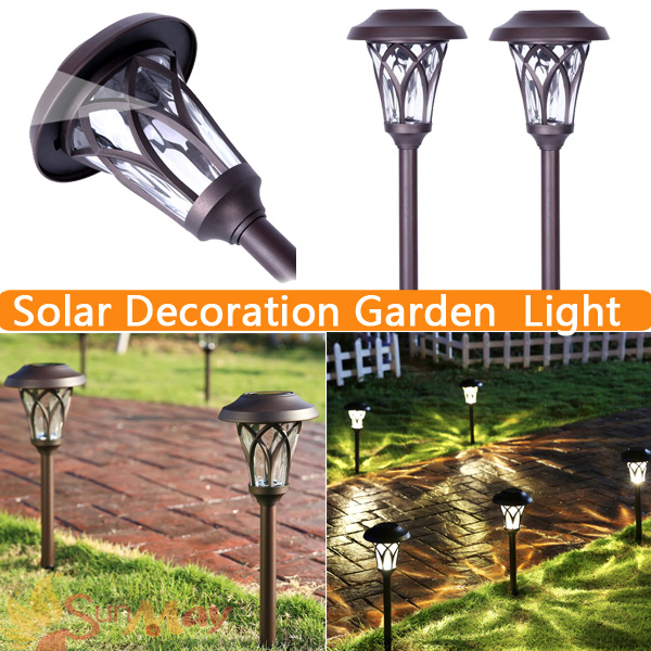 Luminaria LED Garden Solar Lights Lamp, Glass Shade Solar Decoration LED Pathway Lawn Light Outdoor Lighting Energia solar 0829# creative set of 5 solar led glass bottle lights lamp outdoor garden patio lighting