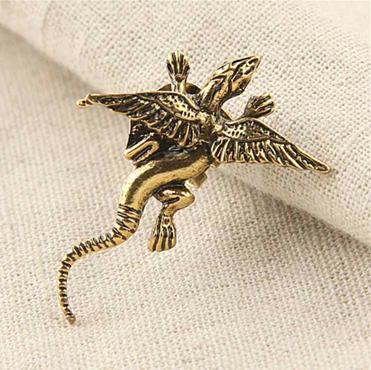 one pieces 1pcs small 4cm vintage dragon clip earrings for women right ear wear party jewelry gifts alloy nickel free wj053