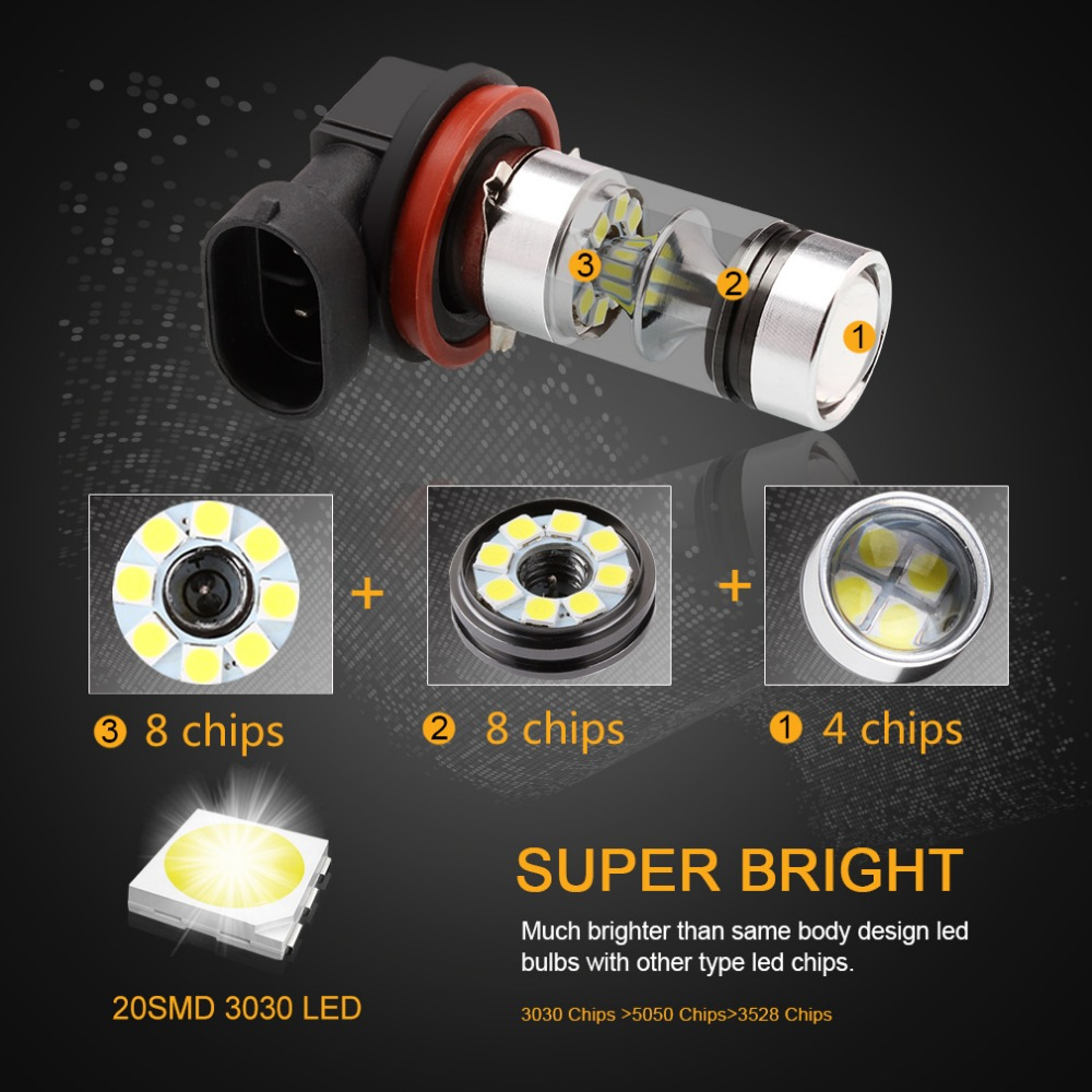 2 pcs H8 H11 Lâmpada LED 9006