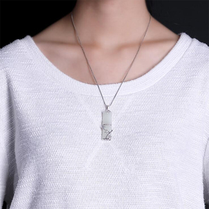 Image 5 - 2019 Mothers Day Jade cuarzo piedra natural Bamboo Pendant 100% Real 925 Sterling Silver Women Necklace pendant Jewelry P016