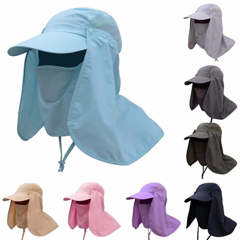 חיצוני דיג לנשימה טיולי קמפינג UV הגנת פנים צוואר כיסוי Visor כובע צוואר פנים דש כובע רחב שולי אבזם-בכובעי דיג מתוך ספורט ובידור באתר