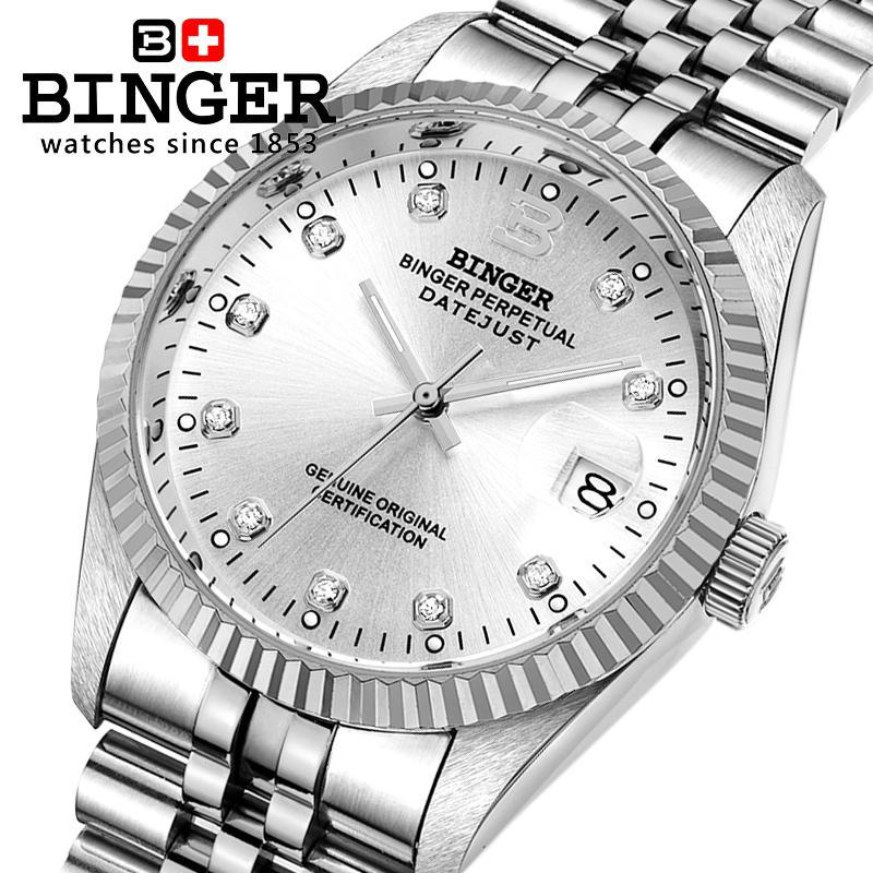 Switzerland Luxury Brand Wristwatches BINGER automatic mechanical Wristwatches Diamond Waterproof Couples Clock BG-0373-2