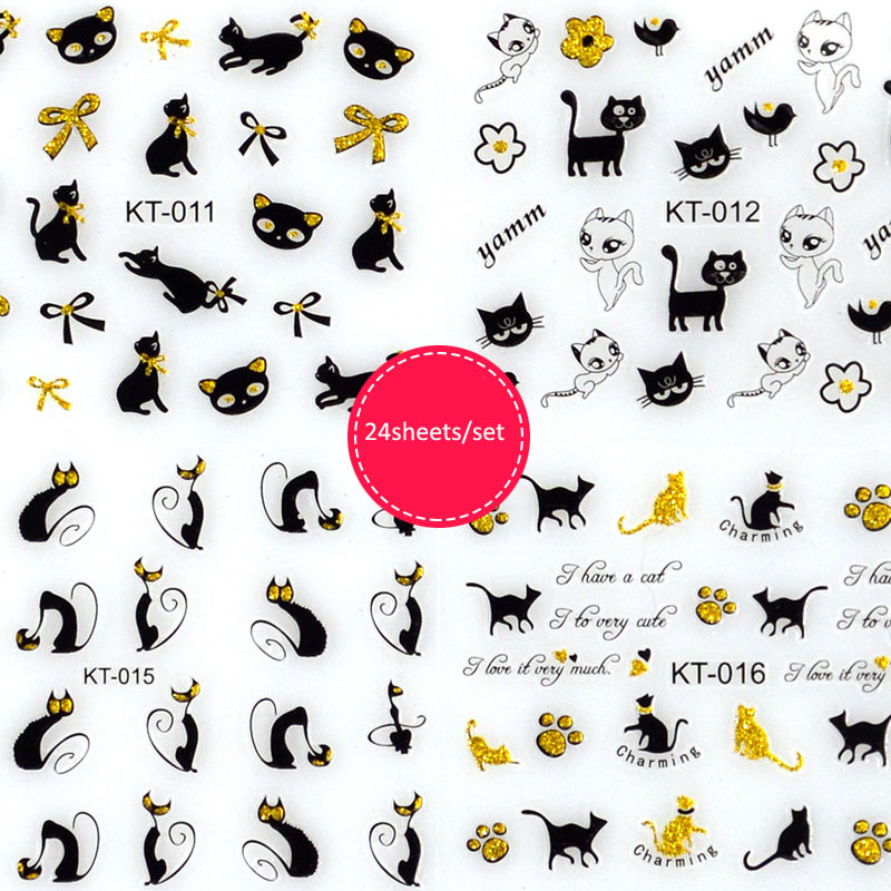 24 Pcs/Set 3D Mix Design Clorful Nail Sticker Art Adhesive Transfer For Decor Manicure A&2
