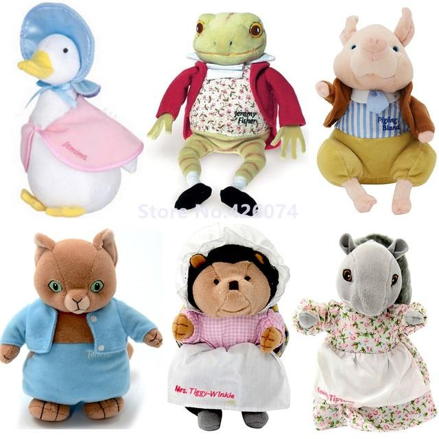 Peter conejo Jemima pato Jeremy Fisher Rana la Sra. Tiggy Winkle cerdo Pigling Bland Tom Cat juguetes de peluche animales de peluche juguetes