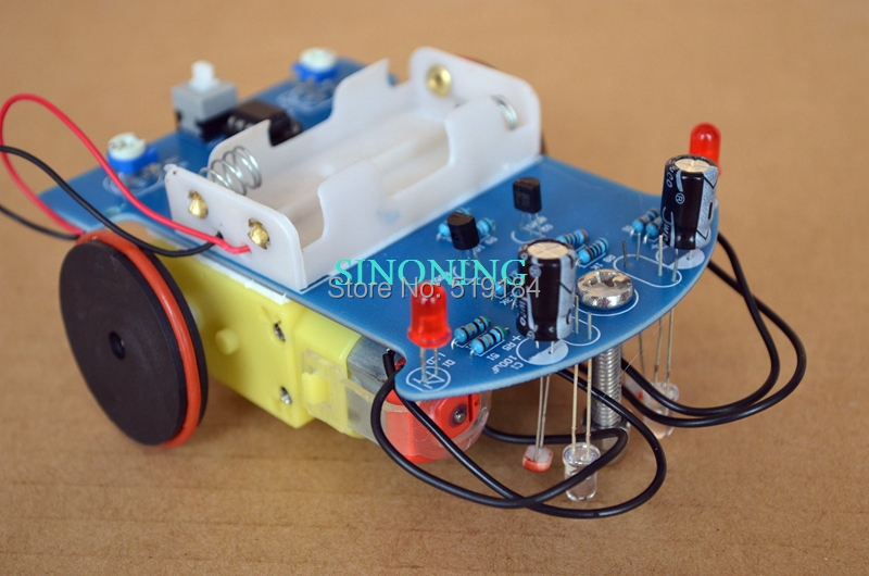 Cheap D2-1 Smart Robot Car kits tracking car photosensitive robot kits parts for DIY electric toy no battery