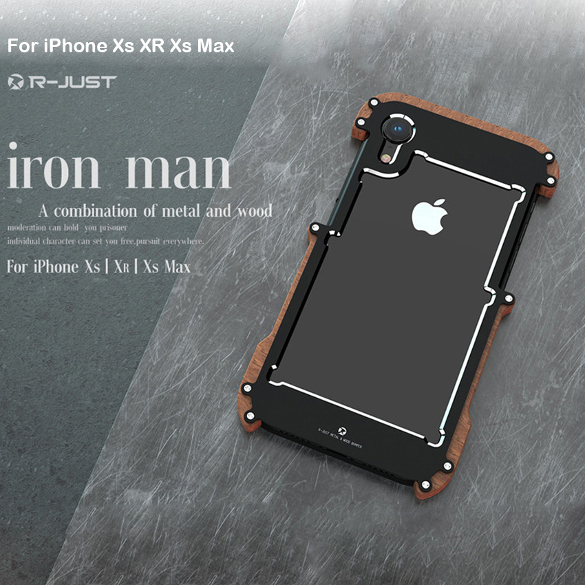 R-just Wood Case For IPhone Xs XR Shockproof Case Metal Frame Bumper Cover For IPhone Xs Max Case Aluminum Shell