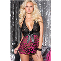 Pink Dot Black Satin Bow Lace Fabric New Woman Ladies Sexy Girls Lingerie Adult Glamorous Sleepwear & Sexy Lingerie L2532-1