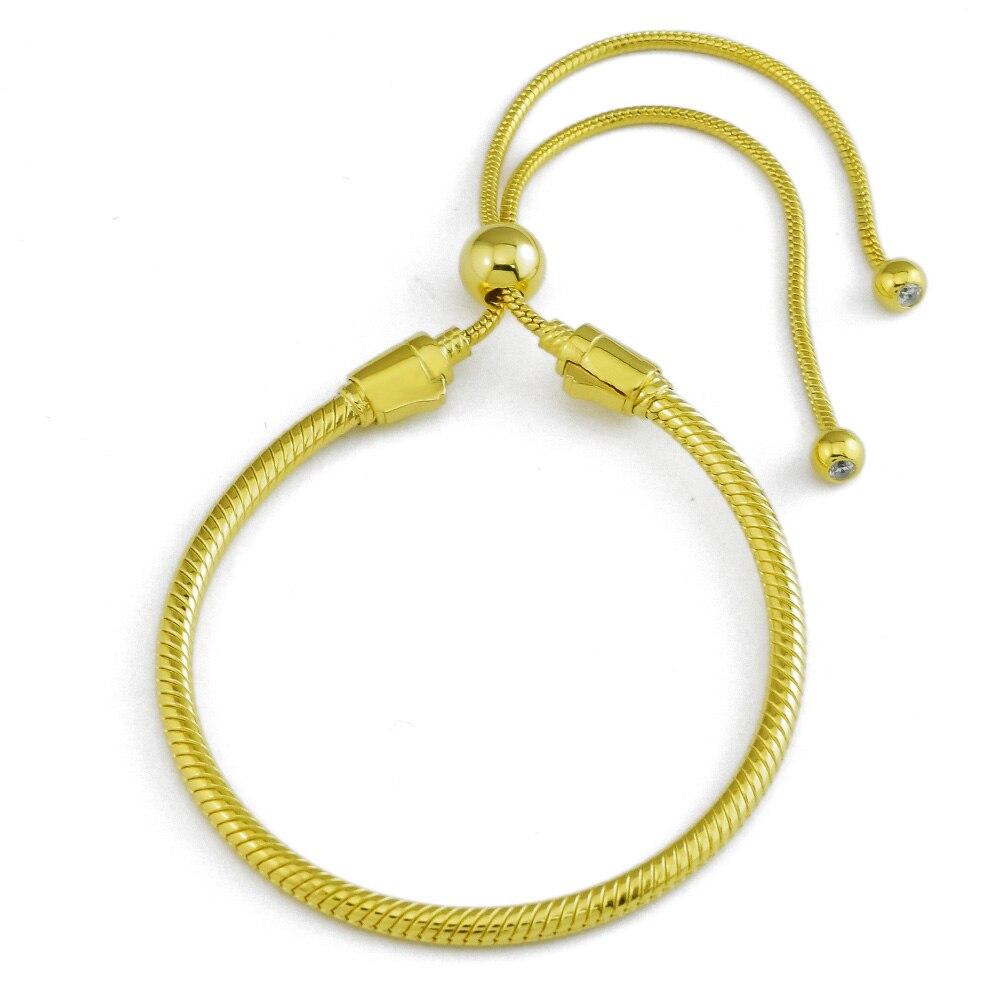 Original 925 Sterling Silver Jewelry Shine Sliding Bracelet Fine Jewelry Trendy Bracelet for Women DIY Charms