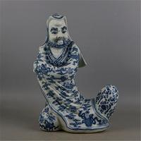 6 Античная Старый QingDynasty фарфор Скульптуры, синий и белый статуя дхармы, Домашнее Украшение, ручной работы ремесла/коллекция