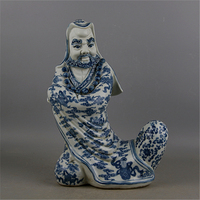 6 Antique Old QingDynasty porcelain Sculpture,blue and white statue of Dharma,Home Decoration,handmade crafts/Collection