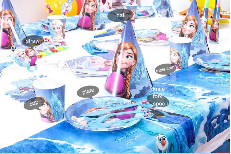 Us 1 82 Frozen Birthday Theme Freezing Anna Elsa Snow Queen Movie Baby Birthday Party Decorations Kids Evnent Party Supplies Decoration In