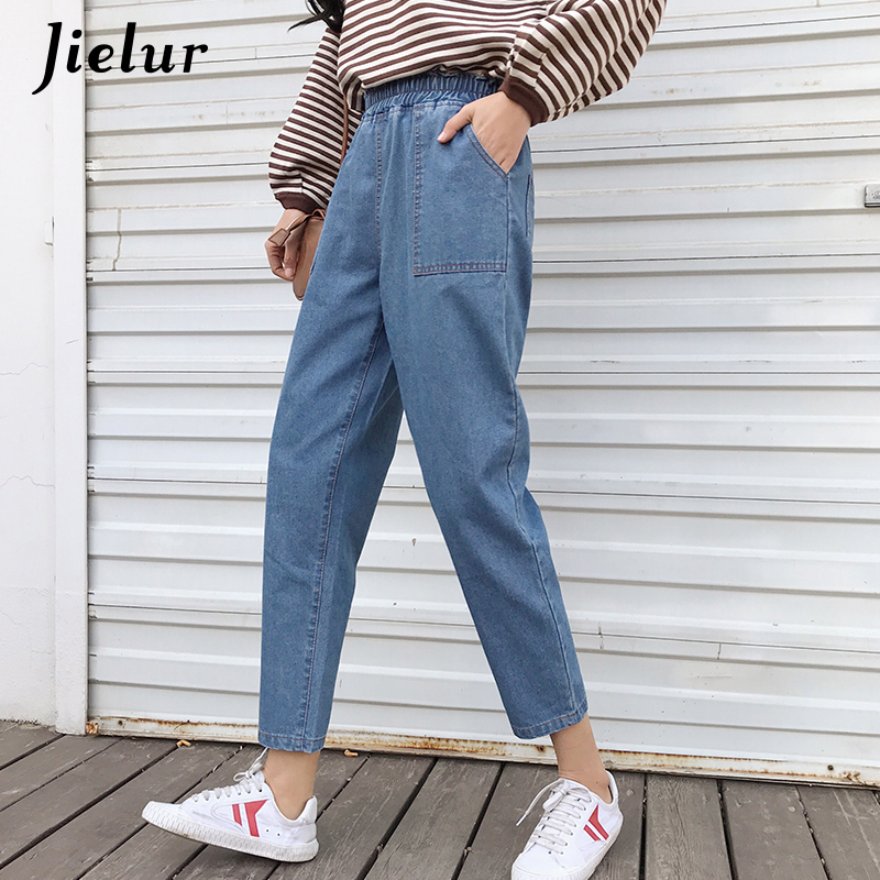 Jielur Harajuku S-5XL High Street Boyfriend Jeans for Women Korean Blue Jean Femme 2019 Plus Size Jeans High Waist Dropshipping