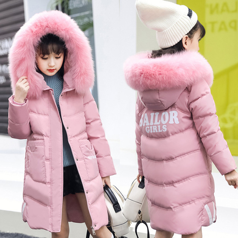 Winter 2019 Girls Winter Coat Fashion Fur Collar Long Thick Warm Children Winter Jacket For Girls Princess Outerwear & Coats elegance princess winter wool coat 2016 new fashion fur stand collar overcoat winter warm jacket for girls pink red 120 160cm