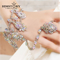 Luxurious AB Color Czech Rhinestone Bridal Bracelets & Bangles with Ring Wedding Jewelry Accessoies