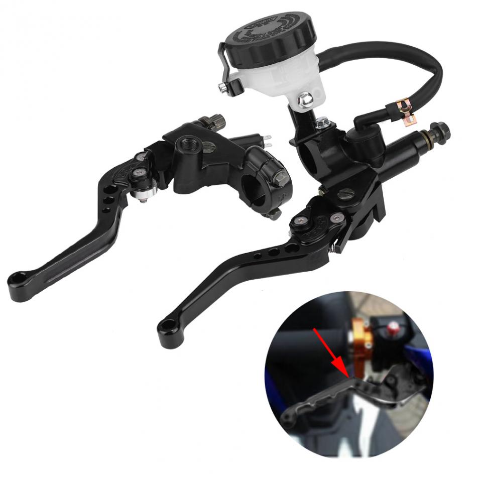 Universal Brake Master Cylinder Levers 7/8(22mm) Motorcycle Brake Clutch Master Cylinder Reservoir Levers Set Black new 2pcs universal 7 8 22mm motorcycle brake hydraulic master cylinder reservoir levers r1 r6 zx6r k6 k8 z1000 gsxr600 750 cbr600