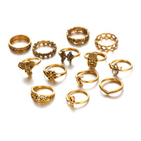 130 Pieces Set Antique Gold Silver Color Knuckle Rings Set Moon Midi Finger Ring Hollow Elephant