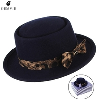 British Style Fedoras Pillbox Hats for Women Fashion Leopard Ribbon Jazz Cap Flat top Wool Felt Hat Pork Pie Hat With Box