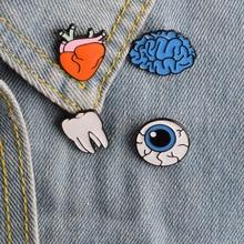 1 шт мультфильм тело орган металлический значок брошки пуговицы заколки джинсовая куртка булавка ювелирные изделия бейдж-украшения для одежды нагрудные булавки