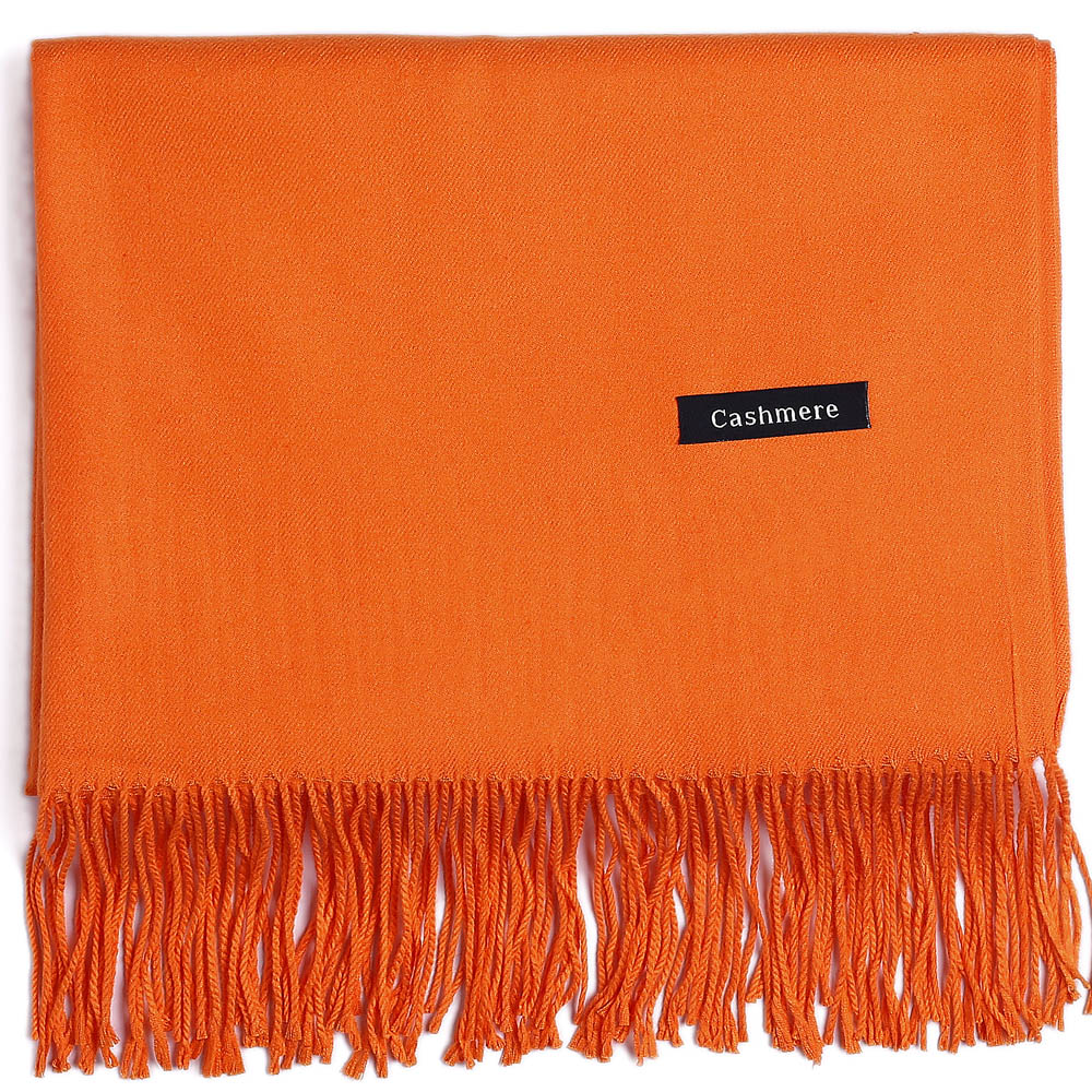 Fashion Cashmere Scarf Shawl Solid Basic Autumn Winter Wrap Warm High Quality Soft Hijab Thick Women Pashmina Wool Luxury Orange