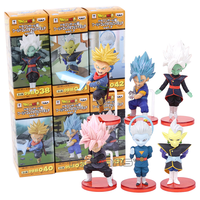 Dragon Ball Super vol.7 Trunks Vegetto Zamasu Super Saiyan Rose Goku Black Grand Priest PVC Figures Toys 6pcs/set 8~9cm clouds without rain