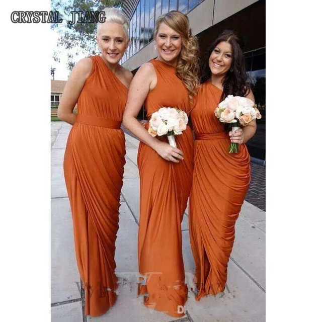 Burnt Orange Bridesmaid Dresses 2017 One Shoulder D Dress Long Maid Of Honor With Split