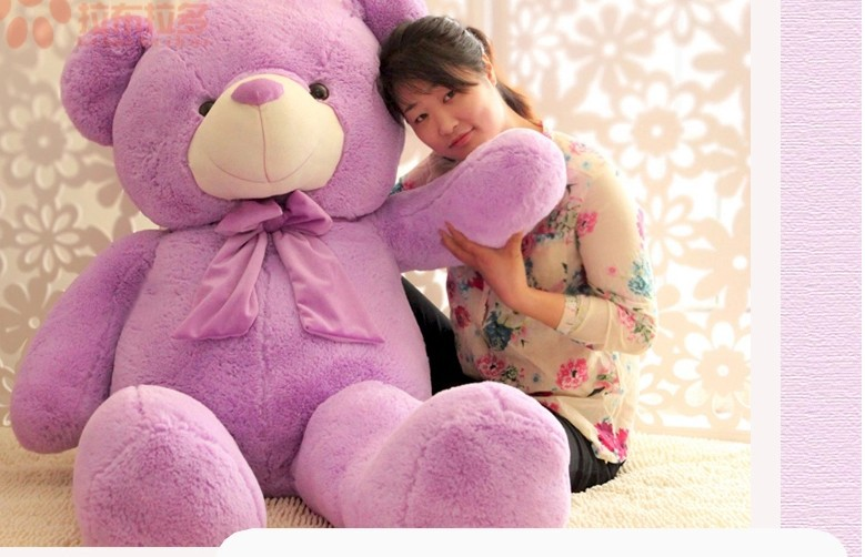 stuffed animal teddy bear lavender bear plush toy huge 120cm doll about 47 inch throw pillow l8786 stuffed animal 120 cm cute love rabbit plush toy pink or purple floral love rabbit soft doll gift w2226