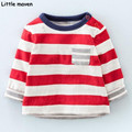Little maven children brand clothes 2017 spring fashion boy girls cotton long sleeve O-neck red striped pocket t shirt CT067