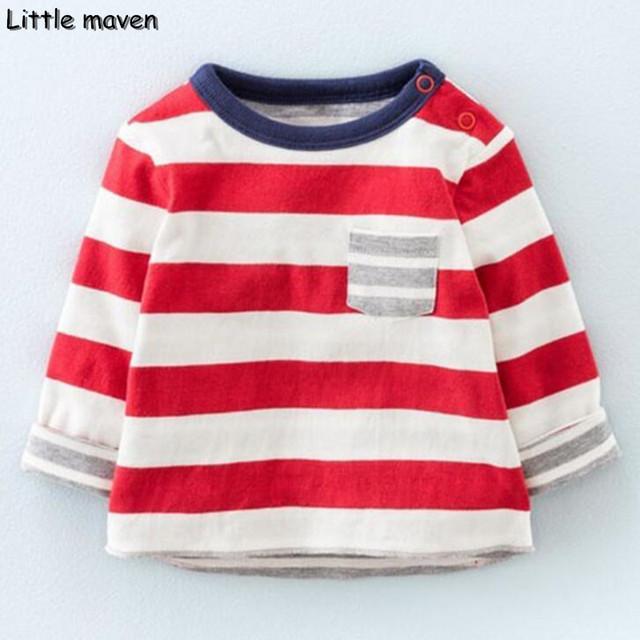 Little maven das crianças marca de roupas de moda primavera 2017 menino meninas algodão manga comprida o pescoço listrado vermelho camiseta bolso ct067