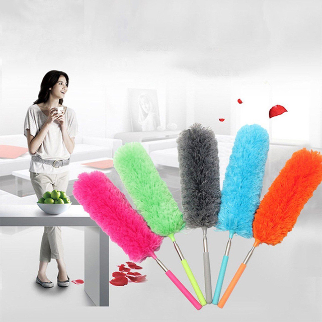 New Fiber + stainless Steel Mini Dust Mites Electrostatic Magic Mites Window Furniture Collector Brush Household Cleaning Tool