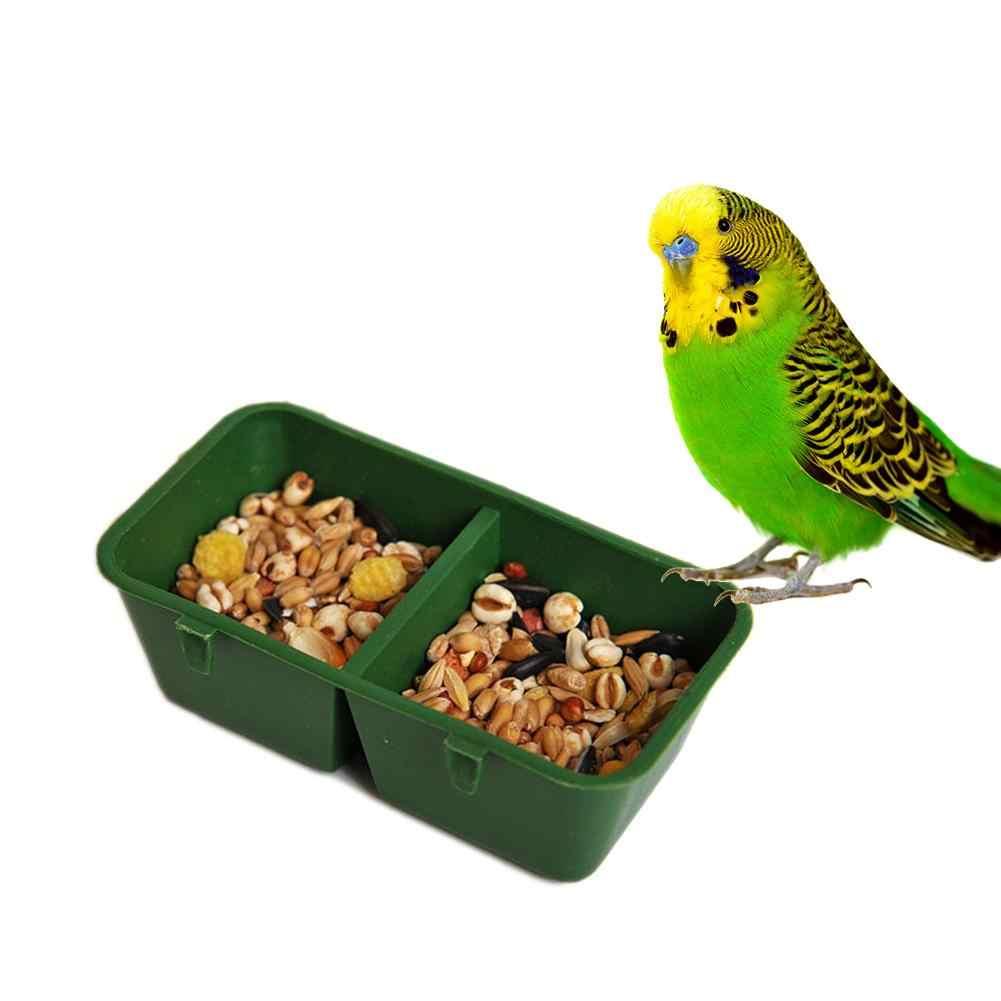 6 шт. кормушка для птиц Еда чаша двойная отделение Пластик кроватки Parrot Hamster Еда воды чаша чашки птицы кормушки бассейна песок чашки