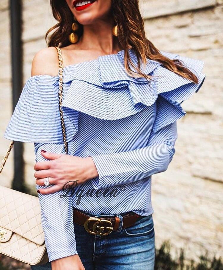 Righe Camicetta Blu Camicia Cotone Una 2017 Spalla Lunga Le Donne Signora Camicette Bqueen Manica Nuova Ruffles Primavera Per A E Di Della Magliette 0vOXq