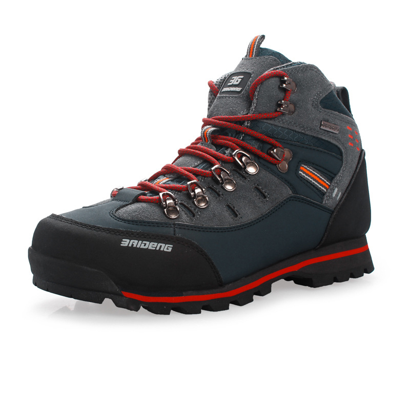Men Leather Sneaker Climbing Boots Shoes Winter Warm Snow Boots Jogging Anti slip Male Shoes Tactical Footwear Outdoor Shoes in Basic Boots from Shoes