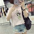 Kesebi 2017 Summer New Hot Fashion Female Students O-neck Basic Tops Women Korean Cartoon Printing Loose T-shirts JMR028#7027