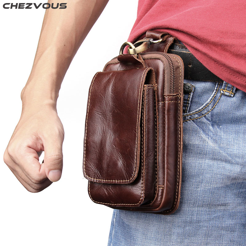 CHEZVOUS 5.5 Phone Pouch Leather Belt Clip Pouch Holster Phone Holder for Samsung Galaxy S8 S9 plus S7 S6 edge S5 S4 Waist Bag
