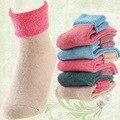 2016 novo 6 peças = 3 pairs mulheres meias de inverno Espessamento da cor pura terry meias de lã de coelho misturado ultra grosso