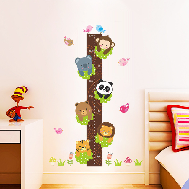 Tiger Panda Monkey Birds Tree Cute Growth Chart For Kids Baby