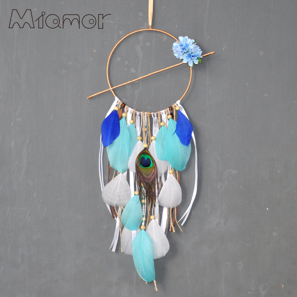 Blue Flowers & Brown Dreamcatcher & Wind Chimes Pastoral Style Home Wall hanging & Wedding Decor Pendant Dream Catcher Regalo