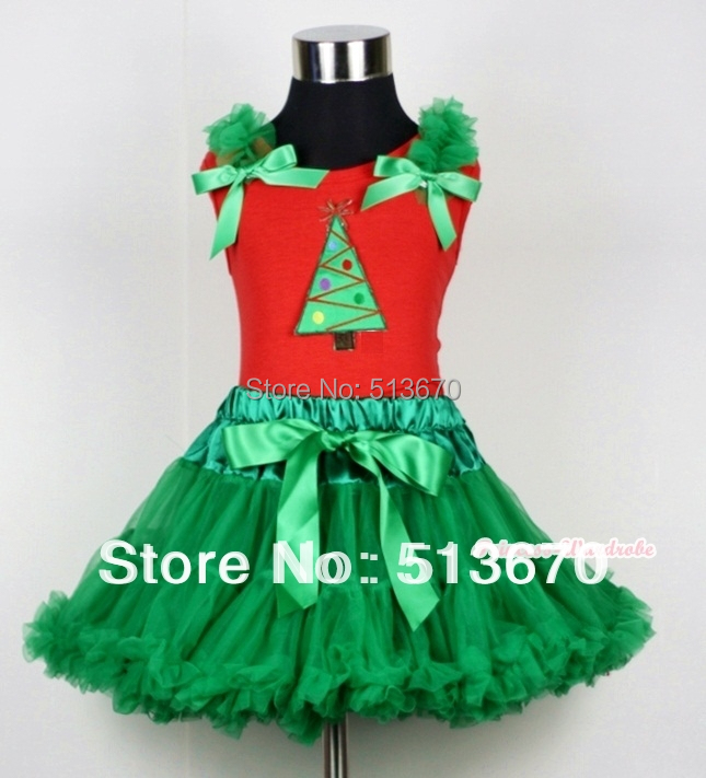 Kelly Green Pettiskirt & Christmas Tree Print Red Tank Top with Kelly Green Ruffles and Bow MACM111 kiniki kelly tanga mens