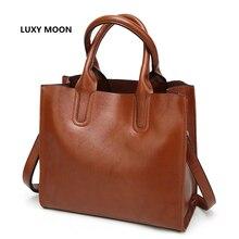European Fashion Totes Simple Vintage PU Leather Oil wax Women Handbags sac a main Shopper Bags Large Shoulder Bags Female A50