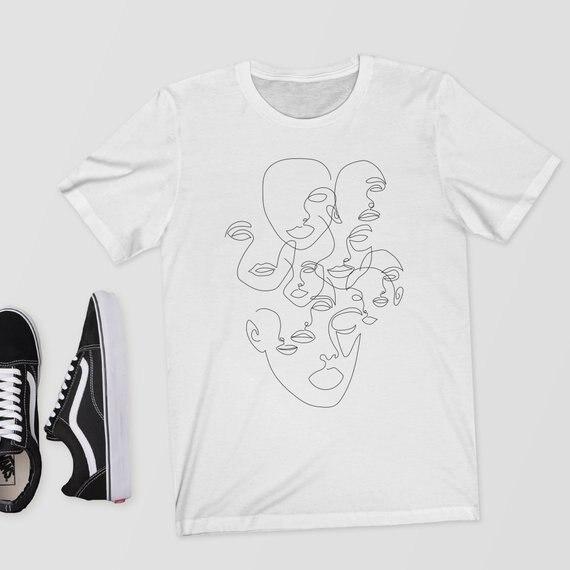 Sugarbaby Estranhos-Line Art T-Shirt Roupas Mínima de Linha Única Linha Fêmea Face Faces T camisa Unisex camisa Da Forma T