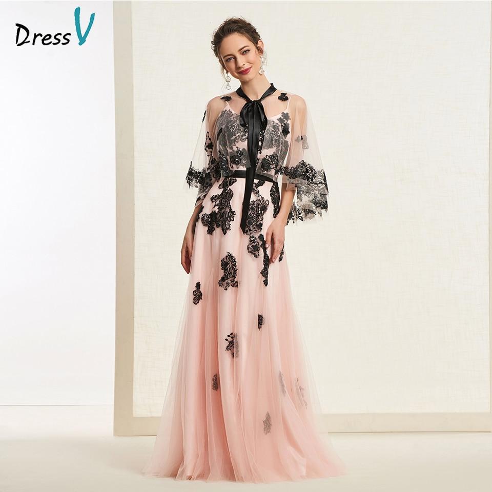 Dressv Spaghetti-Straps Party-Gown Appliques Flesh Evening Elegant Pink Light A-Line