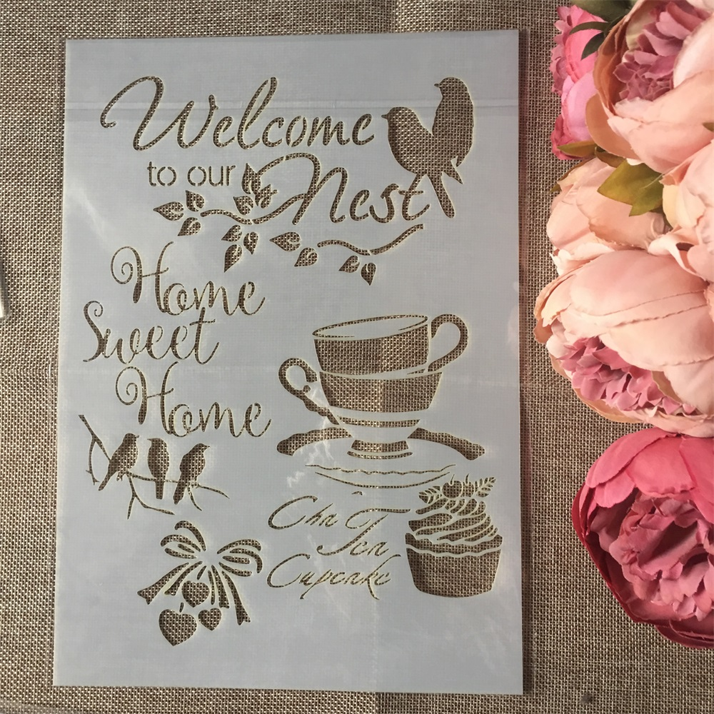1Pcs A4 Welcome Our Nest DIY Layering Stencils Wall Painting Scrapbook Coloring Embossing Album Decorative Paper Card Template